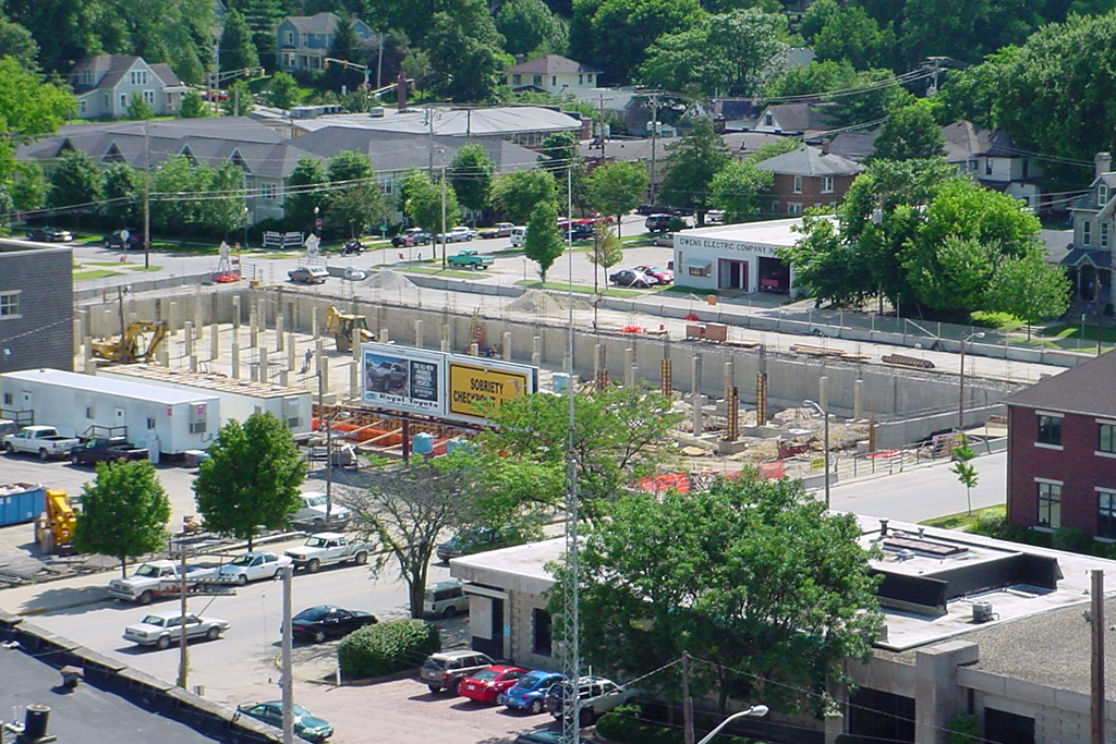 The Kirkwood, luxury apartment complex located downtown Bloomington, begins construction.