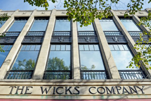 Close up of the renovated Wicks Building windows following the 2014 renovation.