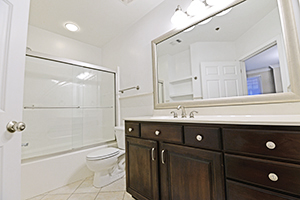 The Imperial bathroom offers title flooring and a large vanity.