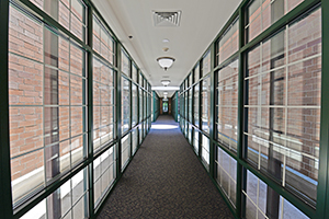 Elegant, glass walkway that connects The Kirkwood buildings together.