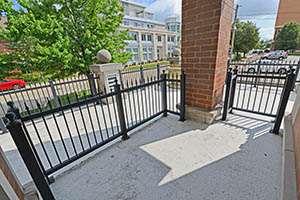 The Kirkwood, Uptown Senate, patio overlooks W. Kirkwood Avenue and is steps from the B-Line Trail.
