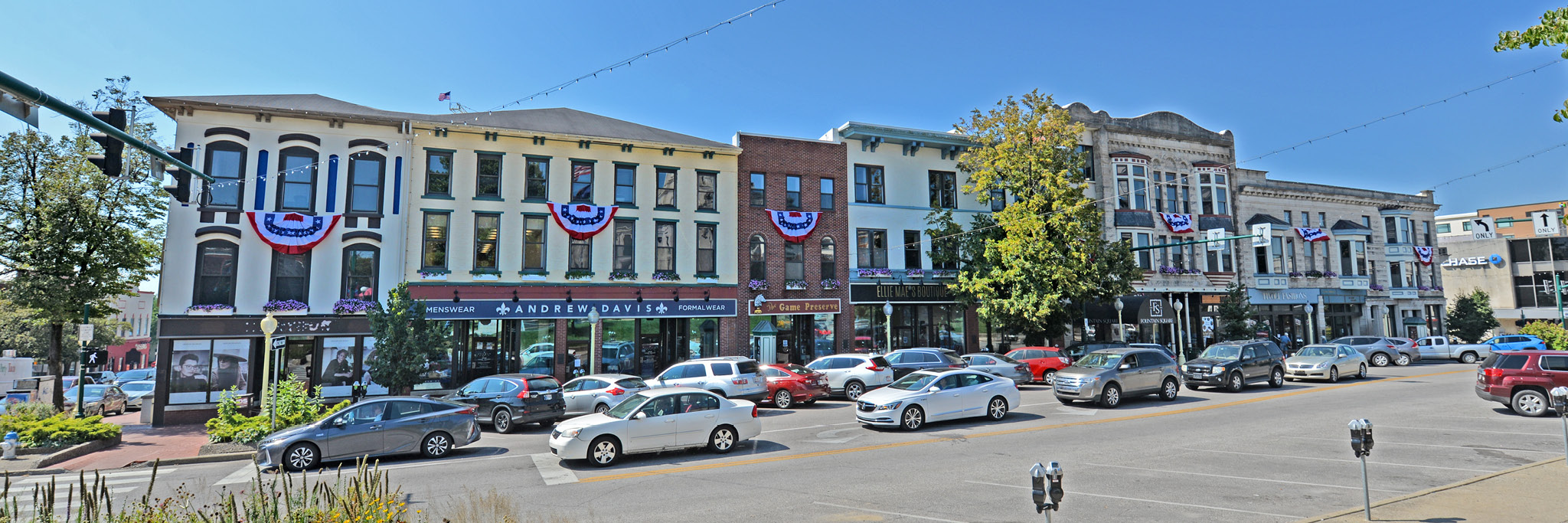 W. Kirkwood Avenue shops on Bloomington's Historic Downtown Square.
