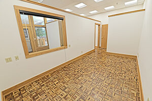 Fountain Square, Suite 122, second office is spacious and has a storage closet.