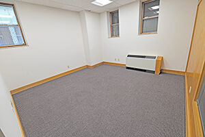 Spacious private office with windows overlooking the main level.