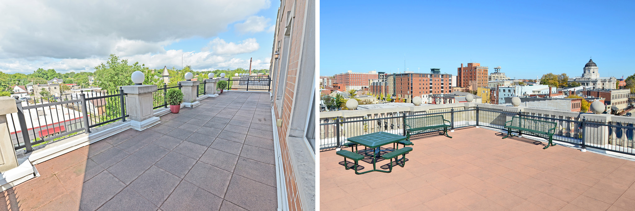 Take in the cool, crisp air by stepping onto one of the patios or balconies.