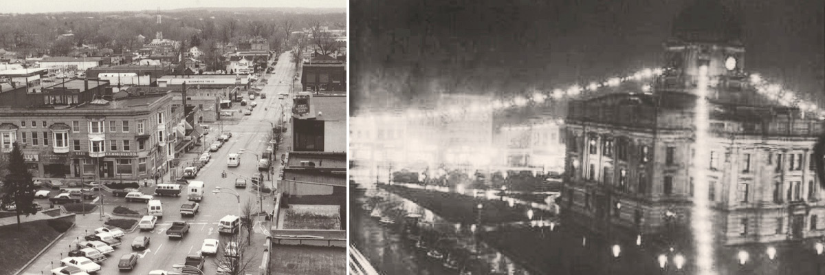 Old sepia photographs portraying downtown Bloomington in the late 1980s, while the second photos shows the courthouse from the 1930s.