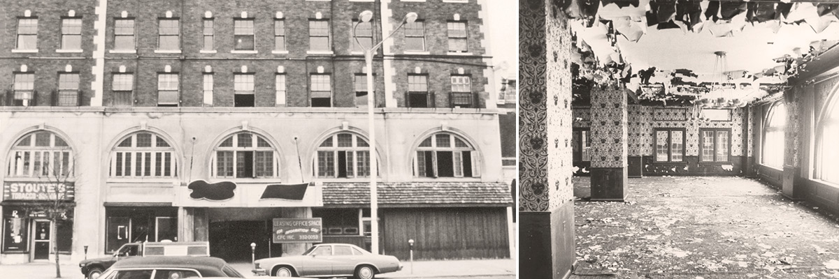 Two photos displaying an exterior and interior shot of Graham Plaza prior to its renovation.