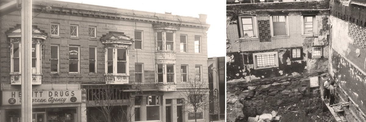Two photos displaying the exterior and interior of Fountain Square prior to the renovation.