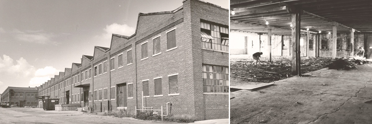 Two photos displaying the exterior and interior of Showers Building prior to the renovation.