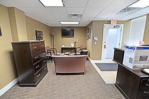 Office provides a large entryway with reception and waiting areas.